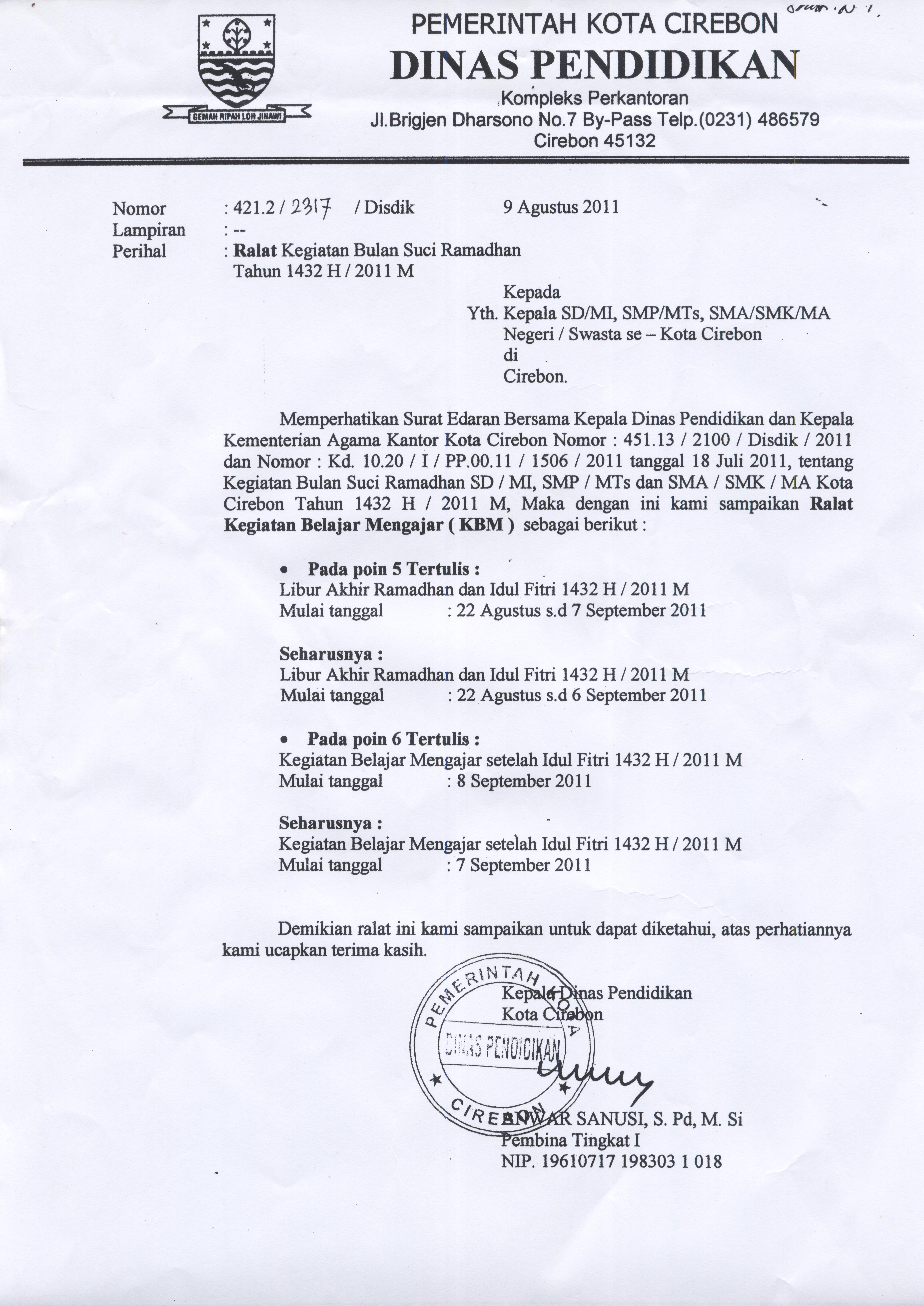 Surat Ralat Kegiatan Bulan Suci Ramadhan 1432 H 2011 M
